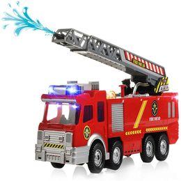 Wholesale Siren Flashing Light - Electric Fire Truck Extending Ladder Flashing Lights & Sirens with Water Pump Hose to Shoot Water Bump