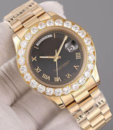 Wholesale Diamond Mechanical Watch - Luxury AAA watches Super N President Day Date 18K Gold Men's Watch With Diamond Bezel Dial and Diamond Hour Markers wristwatch