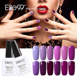 Wholesale Manicure Silver - Wholesale-Elite99 12pcs Nail Gel Polish Long-lasting Soak-off LED UV 10ml Gel Varnish For DIY Manicure Nail Polish Lacquer Of Pink Purple