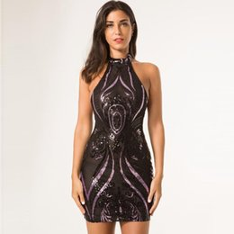 Wholesale Nigth Sexy - Hot Fashion Sequined Dress Black Sheer Mesh Halter Nigth Out Club Dress Ladies Backless Halter Little Black Dress Party Prom Dresses