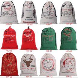 Wholesale Santa Christmas Wrap - 10pcs lot Free Shipping 2015 New Christmas Gift Bags Large Canvas Santa Sack Color Elk Organic Heavy Canvas drawstring Bag