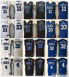 Wholesale Duke Blue - New Men's Duke Blue Devils 33 Grant Hill 11 Bobby Hurley 4 JJ Redick 2 Quinn Cook 32 Christian Laettner College Stitched Jerseys