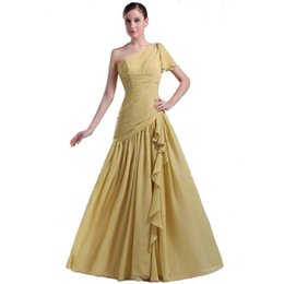 Wholesale Evening Dresses Straight Line - 2017 Straight Chiffon Champagne Evening Dress Elegant Ladies Long length Pleated Gown With Beadings On One Shoulder
