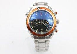 Wholesale Orange Bezel Dive Watch - Men's watch quartz chronograph steel stopwatch Professional orange bezel waches Co-Axial planet ocean master watches men dive wristwatches