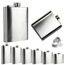 Wholesale 6oz Flask Funnel - Boom Fashion 6 Sizes 4oz-10oz Stainless Steel Pocket Hip Flask Retro Whiskey Flask Liquor Screw Cap With Funnel in Vovotrade