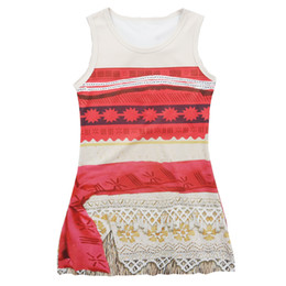 Wholesale Short Straight Dress Design - DHL SHIPPING 2017 New design baby girls Ocean Romance Moana dress summer cartoon Children Moana printing lace dresses Kids Clothing