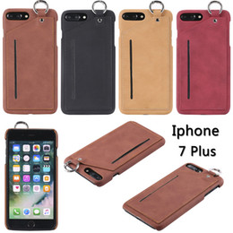 Wholesale Leather Belt Loops - For Apple iPhone 7 6S 6Plus Luxury Leather CellPhone case Outdoor Pouch Hook Loop Belt Holster may insert Business Card Slot phone shell