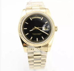 Wholesale 36mm Automatic Watch - New Day-Date Series Men's high quality luxury watches 18K gold Sapphire Black Surface Original strap Luxury brand watches 36mm
