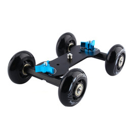 Wholesale Dolly For Dslr Video - Freeshipping Black DSLR Truck Skater Wheel Table Top Compact Dolly Slider Kit Dslr Dolly Camera Car For Video Camera DSLR Accessories