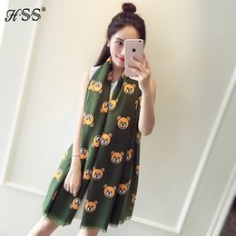 Wholesale Woman Cotton Head Scarf - Wholesale- Hot Sale+ New Teddy Bear head scarf Ladies Outdoor Fashion Brand shawl Women Red Black Cotton Scarfs and Shawls