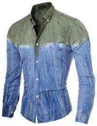 Wholesale Matching Shirt Tie - New Korean Style Male Color Matching 3D Printing High Quality Fashion Casual Slim Tie-dye Long-sleeve Men Dress Shirt M-XXL