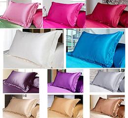 Wholesale King Silk Pillow Cases - Wholesale- Fashion 2pc Luxury Queen King Bedding Standard Silk Satin Pillow Case Multiple Colors Pillow Case