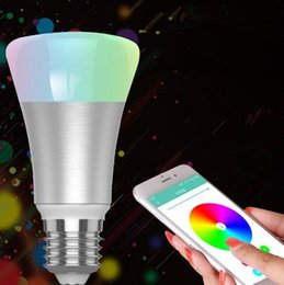 Wholesale Led Rgb Iphone - Bluetooth LED Bulb RGB E27 5050 0.5W*10 LED Dimmable Lamp Remote Control Spot Light For IOS8.9 iPhone Android4.0 CCA7060 30pcs