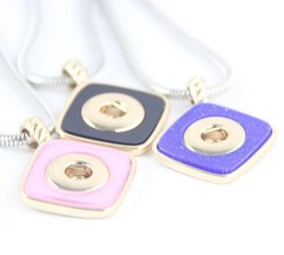 Wholesale Change Slide - 10Pcs Lot 12MM Button Acrylic Gold Button 3Colors Necklace length 45cm Women Change Button Necklaces for Party Jewelry