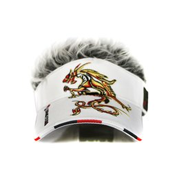 Wholesale Hat Cap Uv - golf cap Dragon Fake Hair men Hat wig hair UV Sun Hat baseball cap wholesale2017 new style Free Shipping