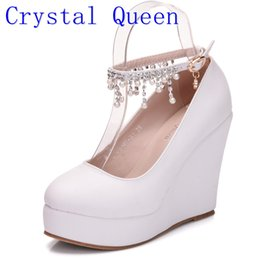 Wholesale Wedge Dress Shoes Wedding - Crystal Queen High Heel Ankle Strap Platform Wedge shoes Women Pump Wedge High Heels Platform Sapato Feminino Shoes dress shoes