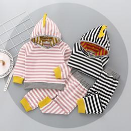 Wholesale Korean Hoodie Sets - Korean style Baby kids 2 Pieces Set Kids spring autumn Suit Set 100% cotton long sleeve strip hoodie + pants kids clothing sets 2 colors