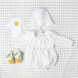 Wholesale Little Girls Party Clothing - Boutique Ins baby girl clothes Birthday Party embroidered Lace Romper Jumpsuits with Ruffle Lace neck Little Balls dec cotton 2017 0-2T