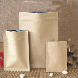 Wholesale Paper Snack Bags - 6*8cm Kraft Paper Food Moisture-proof Bags with Aluminum Foil Lining Stand UP Pouch Ziplock Packaging Bag for Snack Candy Cookie Baking