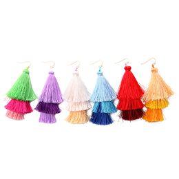 Wholesale Tassels Multicolor - 2017 New Women Dangle Earrings Bohemia Long Tassel Earrings Elegant Women Fashion Exaggerated Multicolor Jewelry 5 Colors