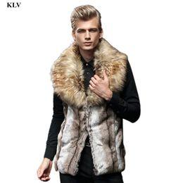 Wholesale Men Fashion Luxury Vest - Wholesale- Luxury Men Faux Fur Sleeveless Vest England Style Male Winter Warm Jacket Fur Collar Cardigan Coat Boy Long Waistcoat Gilet Dec6
