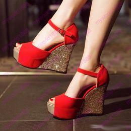 2019 синие клиновые сандалии Женская платформа Wedge Ladies Bridal Sandals Evening Prom Свадебная обувь Red Blue Black Размер 34 до 39 дешево синие клиновые сандалии