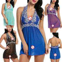 Wholesale Red Sexy Baby Doll Dress - 5 Colors Plus Size Baby Doll Sexy Lingerie Wholesale Pajamas Lenceria Transparente Lace Women Underwear Sexy Dress Erotic