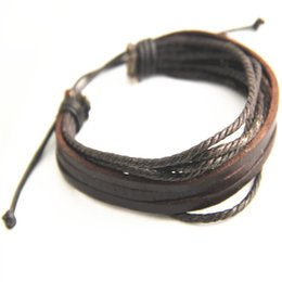 Wholesale Cheap Jewelry Sets For Men - Genuine Leather Bracelets Multilayer Hand-woven Bracelet Three Leather Wax rope+leather Casual Bracelet For Men Jewelry Cheap