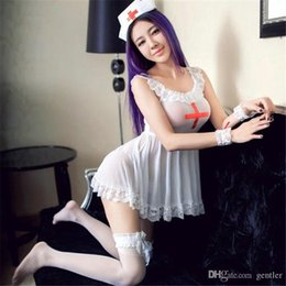 Wholesale erotic role play costumes - Sexy Lingerie White Nursing Uniforms Sexy Costume Temptation Erotic Nurse Hat Role Playing Suit Cosplay LingerieQQ-009