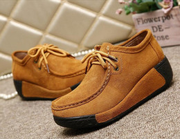 Wholesale Wedge Creepers - 2016 Women Boots Autumn Lace-Up Ankle Boots Casual Platform Shoes Woman Suede Creepers Fashion Ladies Wedges