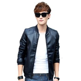Wholesale Cheap Leather Brown Jackets - autumn Winter men bomber jackets brown zipper Faux Leather male casual Motorcycle jacket cool Cheap plus size 4XL coat