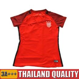 Wholesale Short Shirt White Girl - 2017 Woman Red Soccer Jerseys Americaes Red Football Shirts Lady USAS Girl camisetas de futbol Alex MORGAN Female camisas