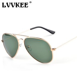 Wholesale Top Frameless Glasses - Wholesale- Top quality G15 aviation Sunglasses Men Women Classic Brand Design Aviator Sun Glasses Polarized Dark green lens oculos de sol