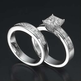 Wholesale Diamond Accent Rings - AUTHENTIC 2.5 CT PRINCESS ACCENTED DIAMOND 14K WHITE GOLD PROMISE RING BAND SET