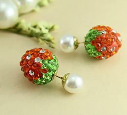 Wholesale Mothers Side - Crystal Strawberry Shamballa Beads Earrings Double Side imitation Pearl Piercing Stud earrings for women And Girls RR723
