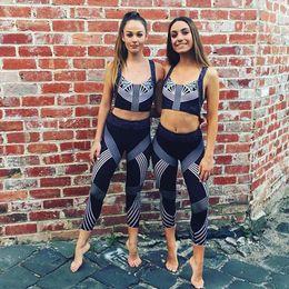 Wholesale Thin Striped Leggings - Wholesale- BlueY 2017 Compress Women Sporting Leggings Fitness Workout Leggins All Season Thin Striped Printed Women Gymming Pencil Pants