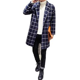Wholesale Plaid Trends - Wholesale- Korea Style Men Trench Coat Long Slim Fit Fashion Trench Coat Trend Casual Plaid Design Mens Windbreaker Outwear Size Plus 5XL