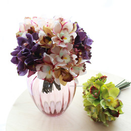 Wholesale Cheap Decoration For Home - Wholesale- Free shipping (7 flower heads piece)artificial flowers cheap orchid decoration flower for home decoration