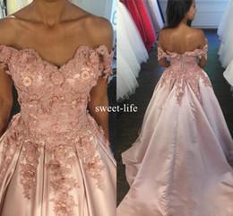 Wholesale Vintage Floral Corset - Blush Pink Sexy 2017 A line Prom Dresses Off-Shoulder corset 3D Floral Appliqued Empire Elastic Satin Sweep Train dresses evening wear