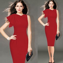 Wholesale Lycra Stretch Dress - Womens Elegant Ruffle Sleeve Ruched Party Wear To Work Fitted Stretch Slim Wiggle Pencil Sheath Bodycon Dress
