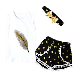 Wholesale Dot Baby Clothing - Posh Baby Girls Clothing Set Metallic Gold Polka Dots Baby Girls Clothes Sleeveless Feather Girls Tees Pom Short Baby Outfit