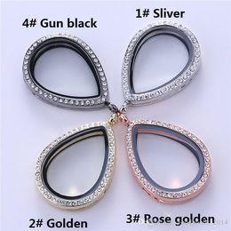 Wholesale Heart Shaped Glass Pendants - 40mm floating locket Teardrop shaped transparent glass frames floating charm lockets pendants A063