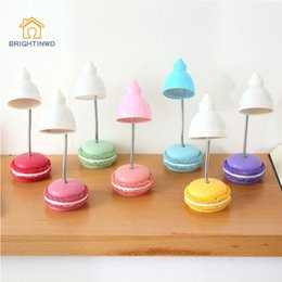 Wholesale Cute Desk Light - Wholesale- Folding Adjustable Cute Lovely Macaron Led Desk Lamp Reading Desk Table Bedside Lamp Night Light for Kids