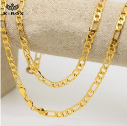 Wholesale Gold Plated Figaro Chain - 2017 Mens 24K Gold Plated 6mm Italian Figaro Link Chain Necklace 24 Inches  30 Inches