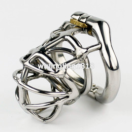 Wholesale Locking Cock Rings - 2017 NEW Arrival Stainless Steel Chastity Cage Male Chastity Device With arc-shaped Cock Ring Sex Toys For Men Virginity lock
