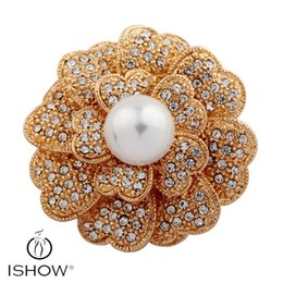 Wholesale Large Rhinestone Brooch Flower - 1.6 Inch Vintage Style Rhodium Gold Tone Large Size Flower Rhinestone Diamante Crystal Brooch for Women