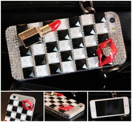 Wholesale Rhinestone Lips Phone - hot sale phone case diamond rhinestone lipstick lips luxury crystal hard case for iphone 7 7s plus 6 6s plus samsung galaxy s6 s7 note 5 7