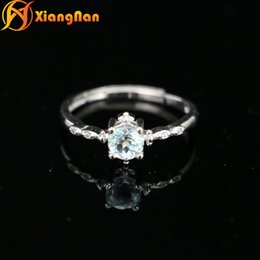 Wholesale Wholesale Aquamarine Rings - S925 silver aquamarine rings gemstone ring silver engagement ring beatiful baby blue wedding rings gem rings XN-FR008