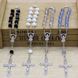 Wholesale Mini Rosaries - Free Shipping Beatiful 50pcs lot 8*6mm faced glass beads decade rosary,4 colors available Handmade mini rosary