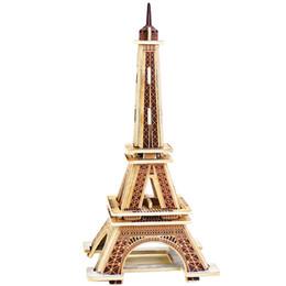 Wholesale Eiffel Tower 3d Puzzle Wood - Wholesale- 3D Wood Puzzles Cubic Wooden Puzzle World's Building Blocks Construction Kids Educational Toys Gift Eiffel Tower